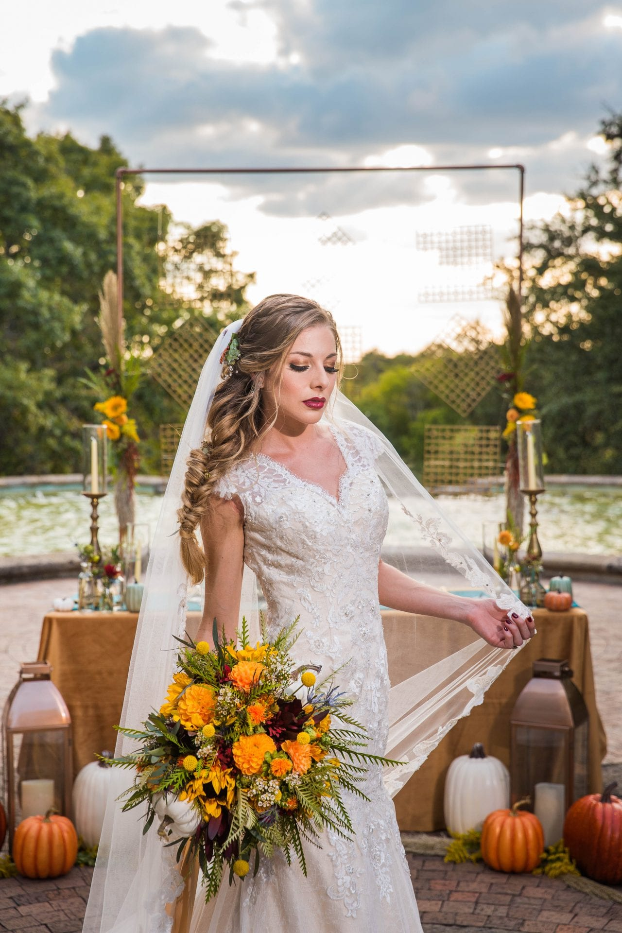 Fall styled shoot at the McNay art bride headshot